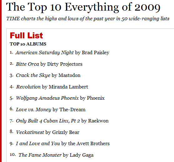 TIMEs (Not the Internet Commentor) Top 10 Albums of 2009