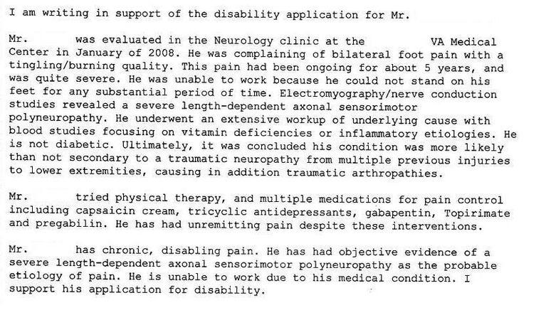 va nexus letter template - nexus letter for peripheral neuropathy veterans benefits