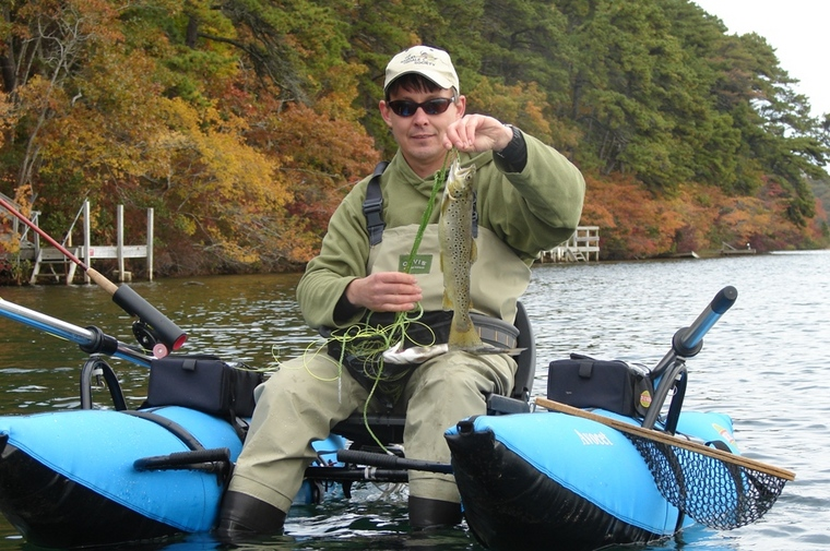 Fall float tube trout bobber fishing the bass pond for Bobber fishing for trout