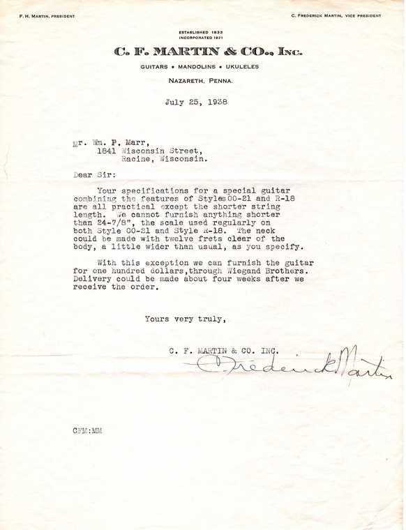 More Old Martin Correspondance In The Vintage Corner Forum