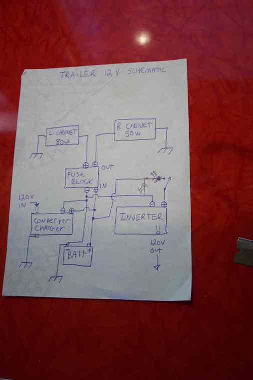 trailer wiring in vintage trailer discussion forum i also ended up 12 110v outlets some hidden who would have thought in a 15 foot trailer here is the basic rough schematic of the 12v system